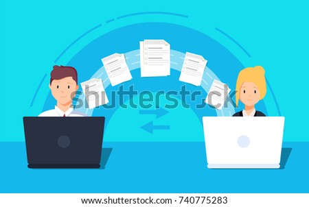 File transfer. Two laptops transferred documents. Copy files, data exchange, backup, PC migration, file sharing concepts. Flat design graphic elements. Vector illustration