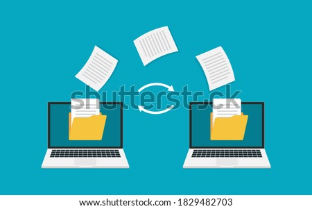 File transfer. Two laptops with folders on screen and transferred documents. Copy files, data transfer, backup, uploading process, file sharing or sending documents from one laptop to another. Vector  stock photo