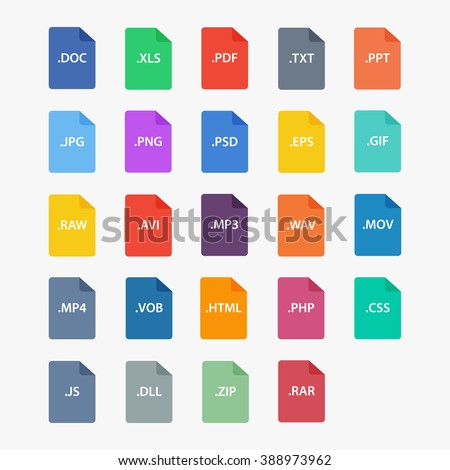 File type icon.  File extensions vector illustration. File type and document types in flat style.  Popular file formats sign isolated from the background.