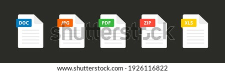 File type icons. Set of pdf, doc, jpg, xls, zip. Collection colored icons for download on computer. Graphic templates for ui. Document types in flat style. Vector illustration. EPS 10
