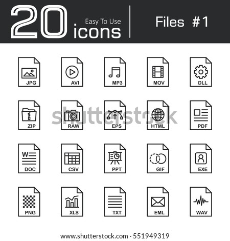 Files icon set 1 ( jpg . avi . mp3 . mov . dll . zip . raw . eps . html . pdf . doc . csv . ppt . gif . exe . png . xls . txt . eml . wav )