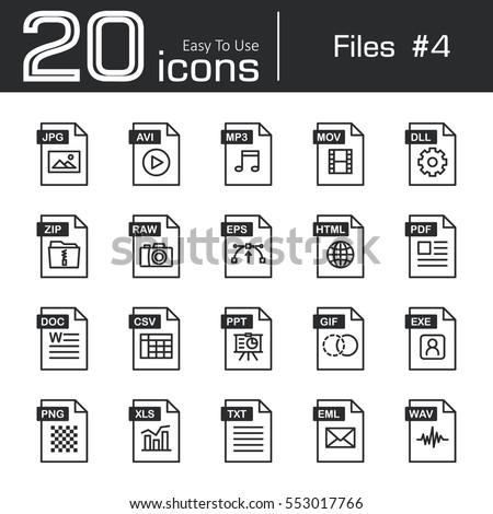 Files icon set 4 ( jpg . avi . mp3 . mov . dll . zip . raw . eps . html . pdf . doc . csv . ppt . gif . exe . png . xls . txt . eml . wav )