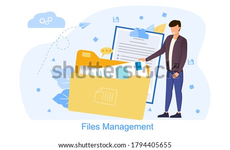 Files management vector illustration. Concept of work with documents in business company