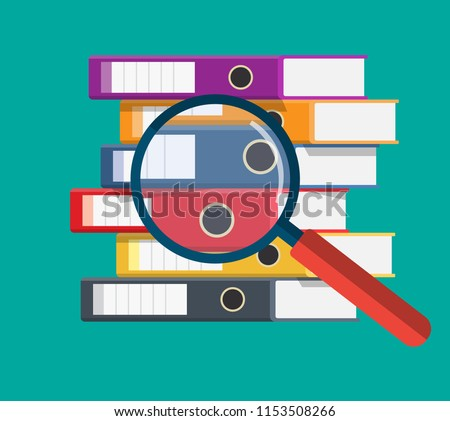 Files, ring binders and and magnifying glass, colorful office folders. Side view. Bureaucracy, paperwork and office. Vector illustration in flat style