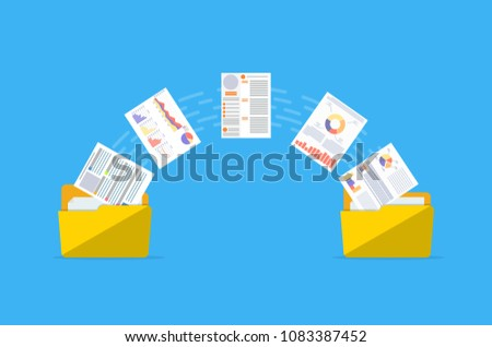 Files transfer. Documents management. Two folders transferred documents. Copy files, data exchange, backup, PC migration, file sharing concepts