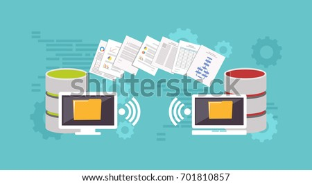 Files transfer illustration. Transfer files. Sharing files. Backup files. Migration concept. Communication between two devices.