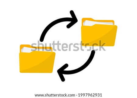 Files transfer. Transfer of documentation. Folders with paper files. File sharing. Move a file from folder to folder. Copy file. Document icon