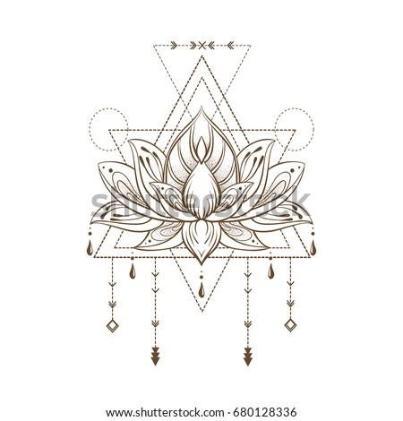 Filigree lotus flower, vector handdrawn illustration on sacred geometry sign