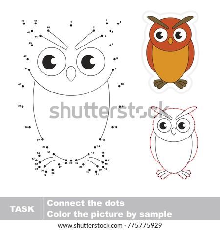 Filin Owl Bird. Dot to dot educational game for kids.