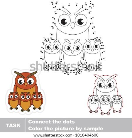 Filin Owl mother. Dot to dot educational game for kids.