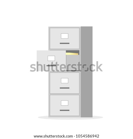 Filing cabinet with four drawer. Vector image isolated on white background