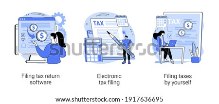 Filing taxes by yourself abstract concept vector illustration set. Filing tax return software, electronic documents, gather paperwork, e-file earnings statement, IRS form abstract metaphor.