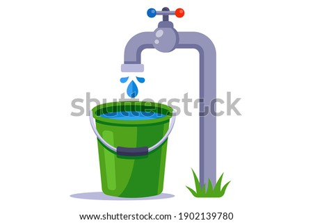 fill a green bucket with water. clean tap water. flat vector illustration. Foto d'archivio ©
