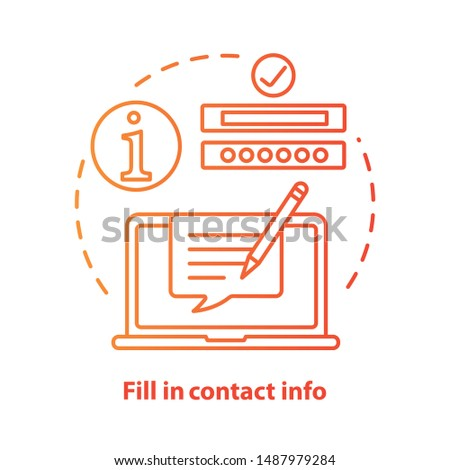 Fill in contact info red concept icon. Contact us idea thin line illustration. Autofill information. Online form filling. Customer support service. Vector isolated outline drawing. Editable stroke