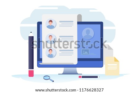 Fill out a form. Online application. survey, interview, job. Flat Cartoon illustration vector graphic on white background.