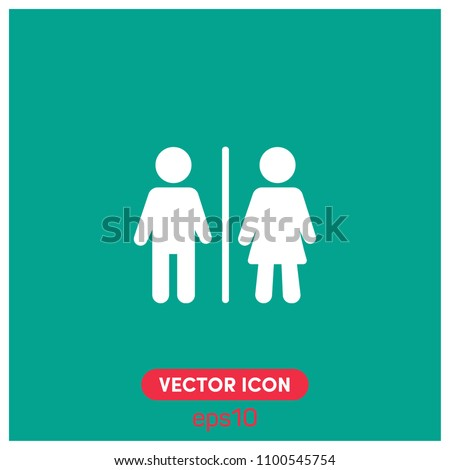 Filled Man,Woman Toilet Sign Vector Icon .Sex,Gender,Girl,Boy,WC Symbol Vector Icon Illustration For Web And Mobile App.Ui/Ux.Premium Quality.