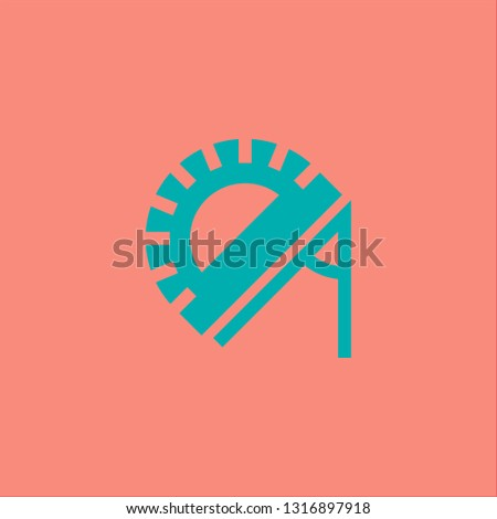 Filled protractor icon. Protractor vector illustration for graphic design. Protractor symbol.