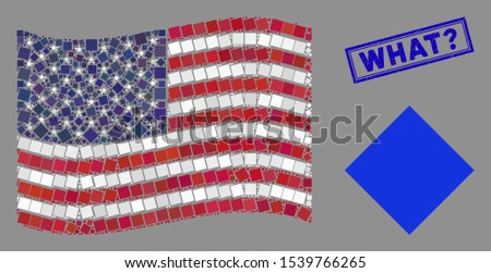 Filled rhombus icons are grouped into USA flag collage with blue rectangle distressed stamp watermark of What? text. Vector collage of USA waving official flag is made from filled rhombus icons.