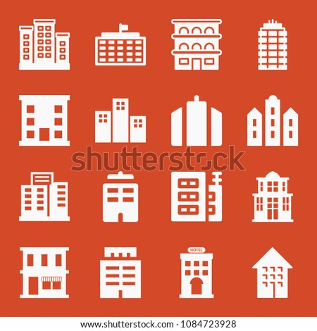 Filled set of 16 apartment icons such as trade center, building with flag, apartments buildings, hotel, restaurant, building, apartment, residential block, apartments