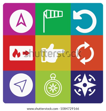 Filled set of 9 direction icons such as exit, right direction filled hand gesture, undo arrow, refresh, navigation, compass