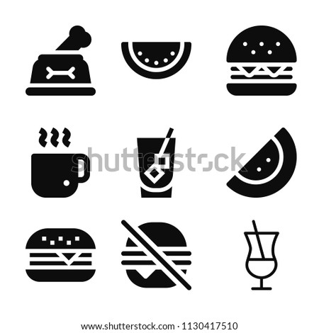 Filled set of 9 food icons such as half filled cocktail glass, hamburger, burger, dog, watermelon, coffee cup, fast food
