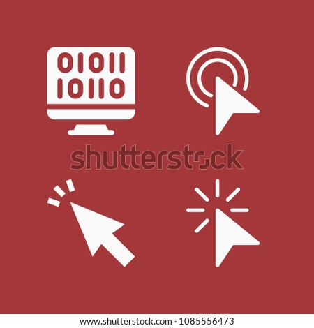 Filled set of 4 mouse icons such as click, cursor