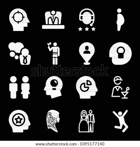 filled set of 16 people icons
