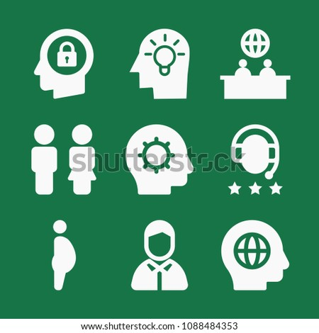 filled set of 9 people icons