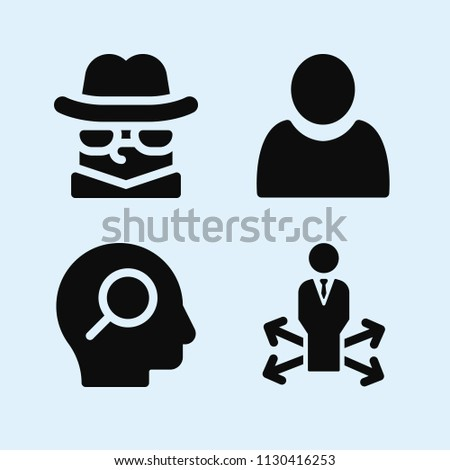 Filled set of 4 people icons such as user filled person shape, decision making, detective