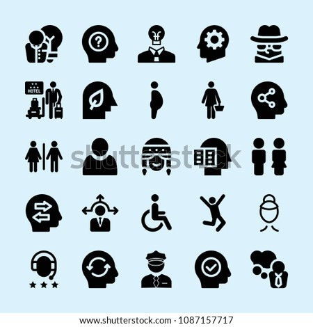 filled set of 25 people icons