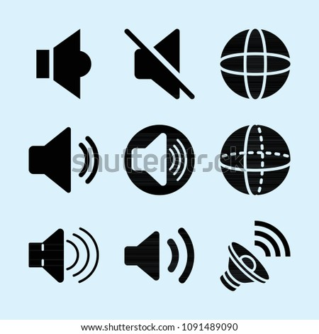 Filled set of 9 volume icons such as speaker, speaker filled audio tool, volume, mute