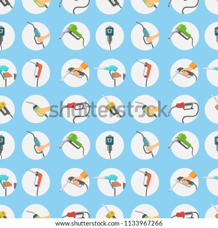 Filling gasoline station pistol in people hands refinery industry refueling petroleum tank service tool seamless pattern background vector illustration