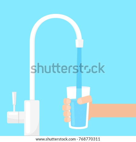 filling glass with water from filter tap. Vector image