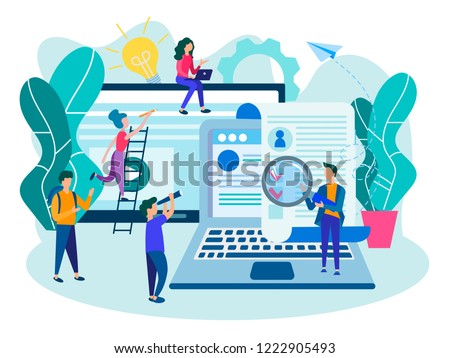 Filling in the questionnaire online, a job application form, online resume filling, online testing, visa and online concept tax return filling. Vector illustration. #1222905493