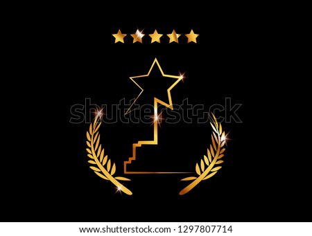 Film Award for the best film. Movie PARTY Gold STAR AWARD Statue Prize Giving Ceremony. Golden stars prize concept, Silhouette statue icon. Films and cinema symbol stock, Academy awards. Isolated