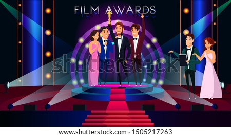 film awards flat vector