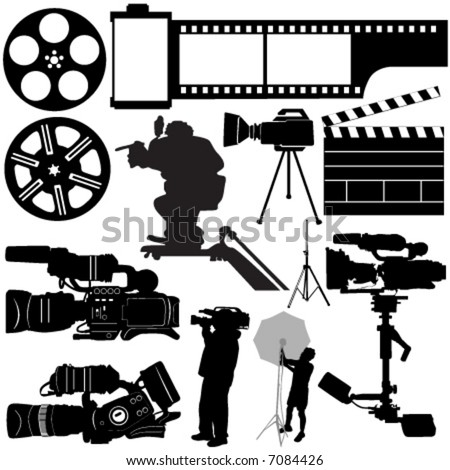 film, camera and equipments vector
