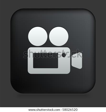 Film Camera Icon on Square Black Internet Button Original Illustration