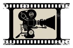 Film cinema camera in film strip frame, vector illustration