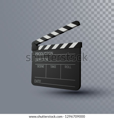 Film clapper board. Movie clapper isolated on trasparent background. Cinema production or media industry concept. Vector 3d illustration. Realistic filmmaking equipment