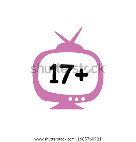 film classification by age, television logo with numbers 17+, criteria for television viewers aged 17 years and over Stock fotó ©