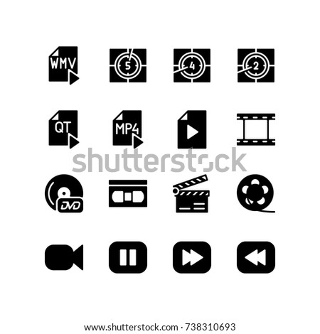 Film countdown timer and file format icon set