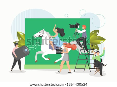 Film crew shooting movie, flat vector illustration. Actress riding horse. Cinematography, filming process, movie production industry.