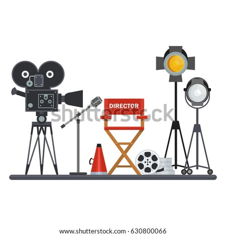 Film directors chair with megaphone, projector, camera and clapboard. Work on the set of the film. Flat vector cartoon illustration. Objects isolated on a white background. - Shutterstock ID 630800066