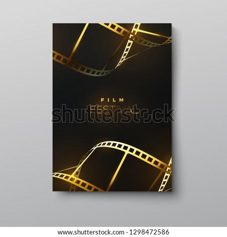 Film festival banner. Vector illustration of golden curled film strip. Design template of movie award ceremony poster. Filmmaking concept. Cinematography event cover