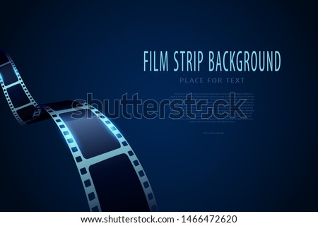 Film festival poster. Movie theater reel and film strip. Template for movie banner or poster in blue colors. Movie time and entertainment concept for your design. Modern 3D isometric style.
