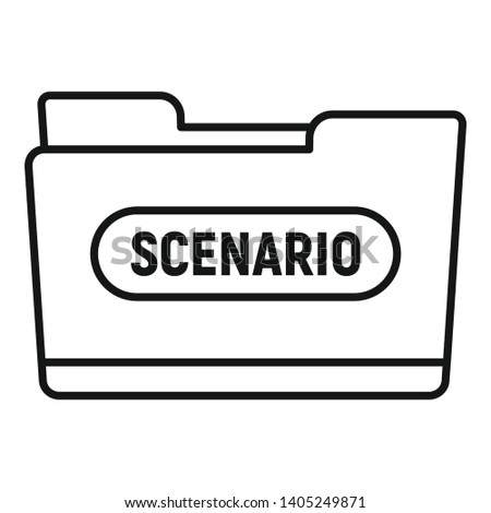 Film folder scenario icon. Outline film folder scenario vector icon for web design isolated on white background Foto d'archivio ©
