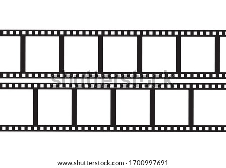 Film frame pattern for photo. Old film tape negative.