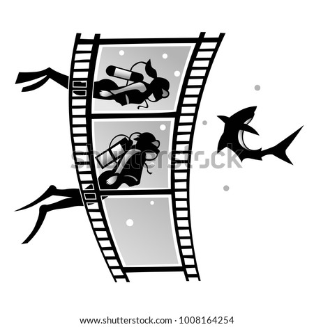 film frames with a shark and