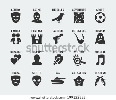 Film genres vector icon set
